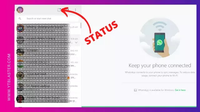 Upload status on Whatsapp web