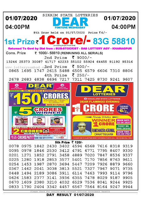 Sikkim State Lotteries 01-07-2020 Lottery Sambad Result 0400 PM