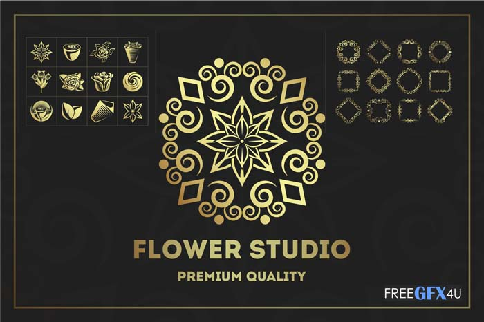 12 Unique Flower Studio Logo Kit