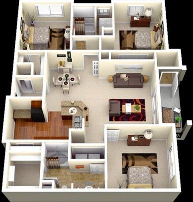 desain rumah minimalis type 45 dengan 3 kamar tidur 1 lantai
