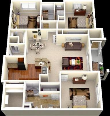 Desain Rumah Minimalis type 45 dengan 3 kamar tidur 1 lantai & Desain Rumah Minimalis type 45 dengan 3 kamar tidur 1 lantai | Rumah ...