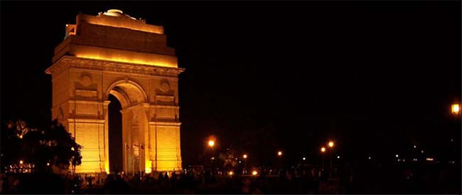 View of India Gate at Night