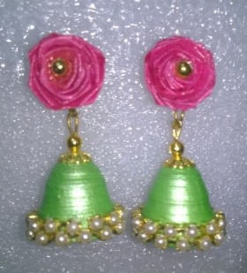 Rose hangings quilling paper earrings for kids - Quillingpaperdesigns