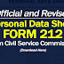 Official and Revised FORM 212 (PDS) from CSC