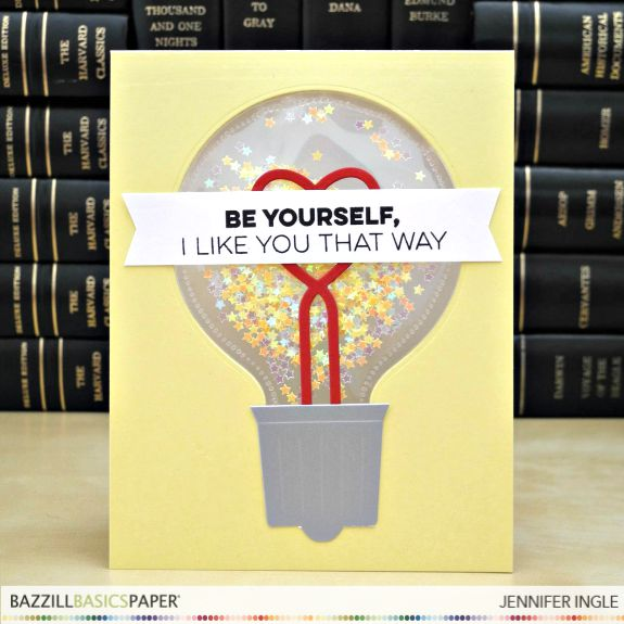 Be Yourself by Jennifer Ingle #JustJingle #BazzillBasics #WeRMemoryKeepers #ShakerCard #MFTStamps