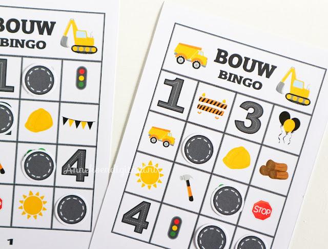 Bingo printables in Bouw thema, kinderfeestje printables, bingo kaarten printen, kinderfeest in bouw thema, werk in uitvoering feest, kinder bingo, bingo voor kinderen, bingo kopen, kopen bingoe voor kinderfeest, feest bingo