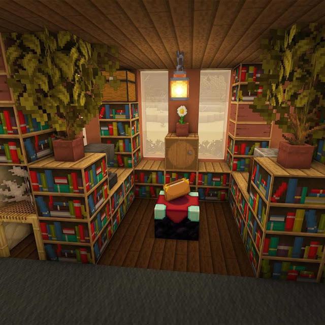 Minecraft Village Library Design Interior