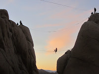 Rock climbers after sunset near Ryan Mountain trailhead, Joshua Tree National Park