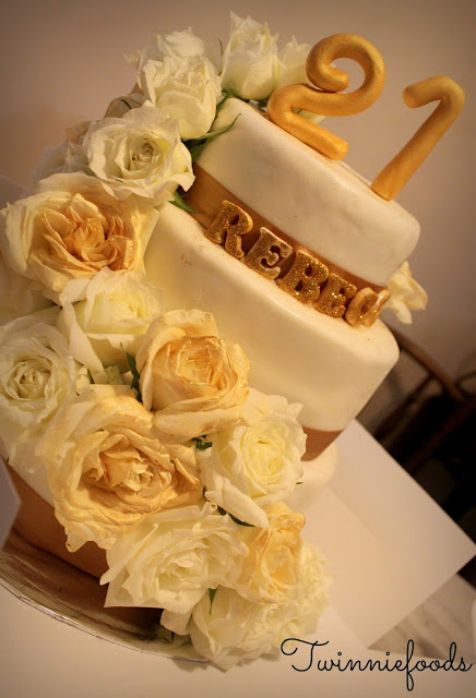 Floral White Amp Gold 21st Birthday Cake Twinniefoods