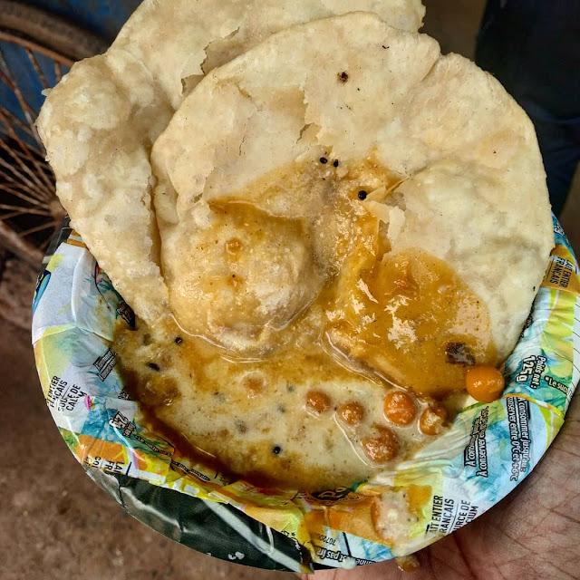 Delicious Puri Ghuguni and chutney for morning breakfast in Laxmisagar, Bhubaneswar