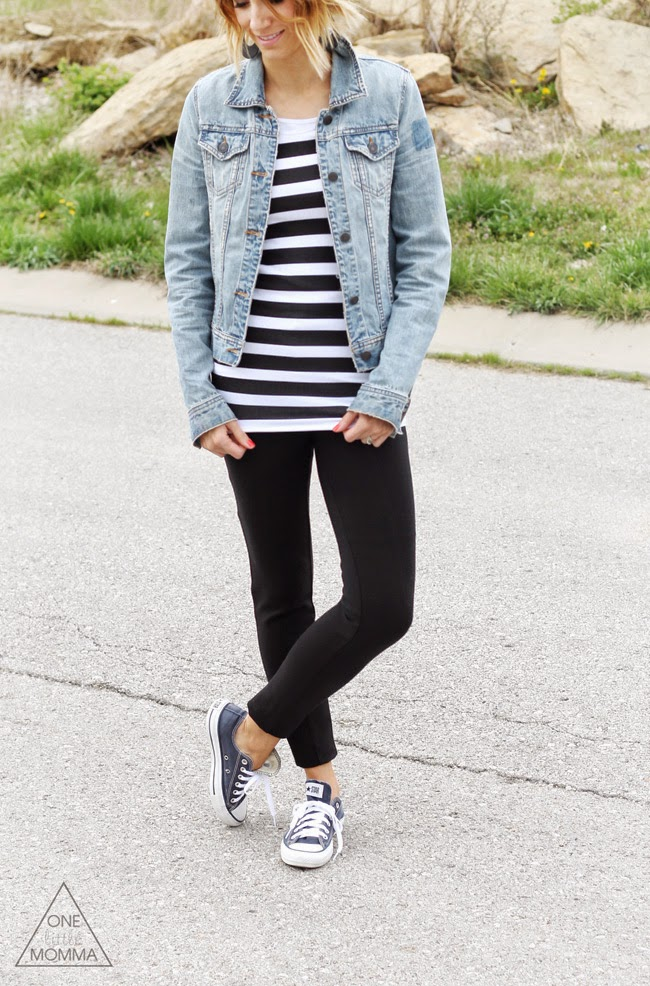 Striped fitted tunic, denim jacket, black pants and Converse