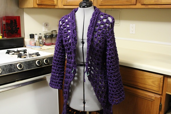 crochet, duster, coat, knee-length, Charisma, yarn