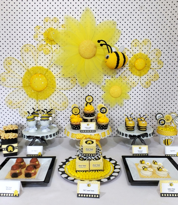 Honey Bee Birthday Desserts Table - via BirdsParty.com