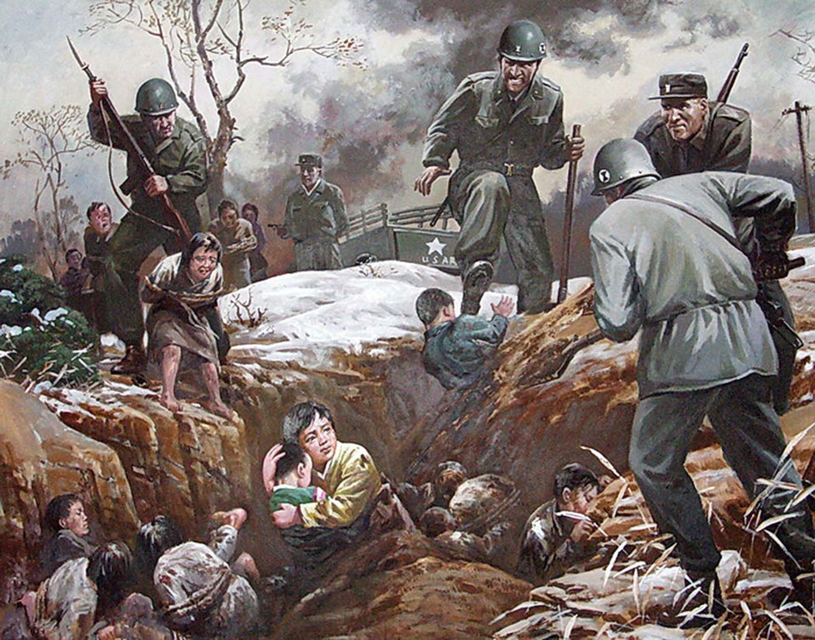 North Koreans are seen being forced into a pit.