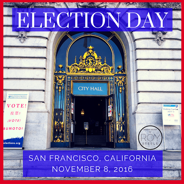 The entrance to San Francisco's City Hall on election day November 8, 2016 by Roy Steele