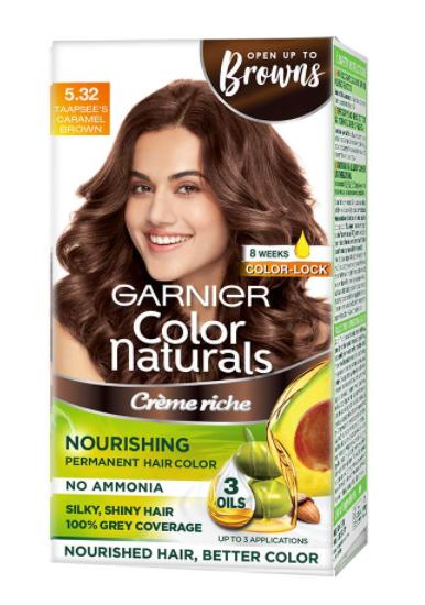 Garnier Color Naturals Crème hair color, Shade 5.32 Caramel Brown, 70ml + 60g