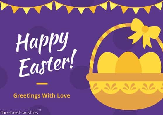 easter wishes greetings with basket eggs