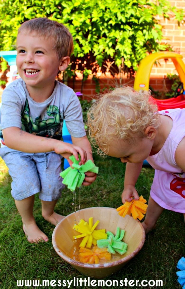 diy sponge water bomb summer activities for preschoolers