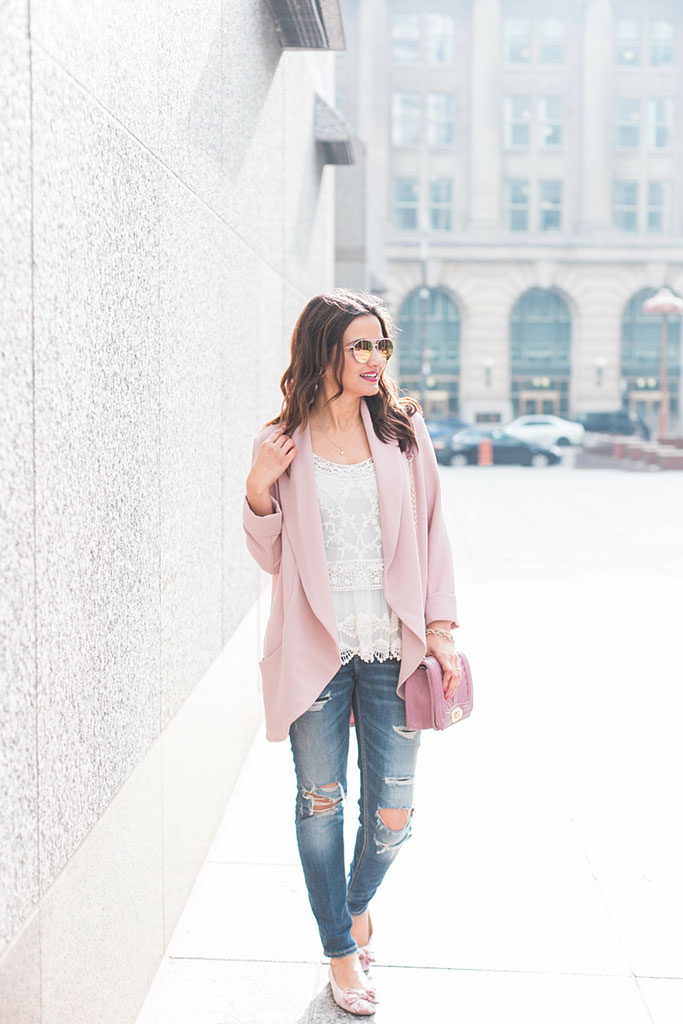 Pink-Blazer-Lace-Tank-Distressed-Jeans-Pink-Velvet-Bow-Flats-Blogger-Outfit