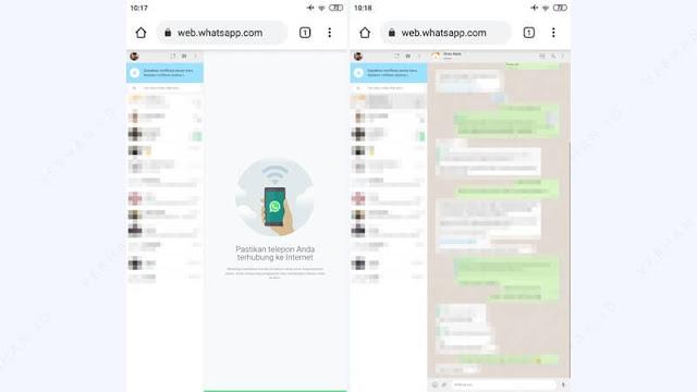 membuka web whatsapp di chrome hp