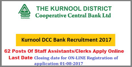 Kurnool DCCB Recruitment Notification 2017 -62 Vacancy Posts, Applications are invited for appointment to the posts of Staff Assistants / Clerks Apply Online  62 vacancy posts for filling up of vacancies in Kurnool DCC Bank from Local Candidates of the Kurnool District. District Co-Operative Central Bank limited Kurnool  Applications are invited for appointment to the posts of Staff Assistants / Clerks Recruitment Notification for 62 Posts of Staff Assistants/Clerks in DCC Bank Kurnool Apply Online DCCB Kurnool recruitment notification for 62 vacancy posts apply online kurnool-dccb-recruitment-notification-2017-62-posts-of-staff-assistant-clersk-apply-online