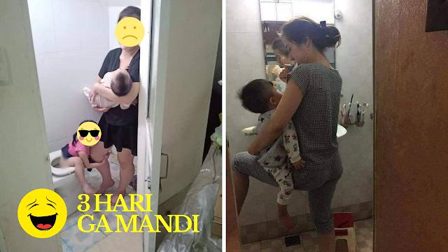 Enaknya Menjadi seorang ibu rumah tangga. Tak Mandi 3 Hari karena Terlalu Sibuk Jaga Anak