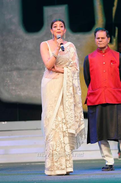 Kajal Aggarwal In Beautiful Designer Saree at Khiladi 150 Meet (5)