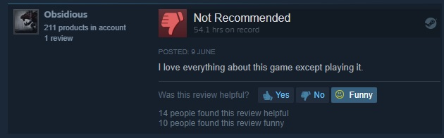 Funny Steam Review - Loves everything about the game