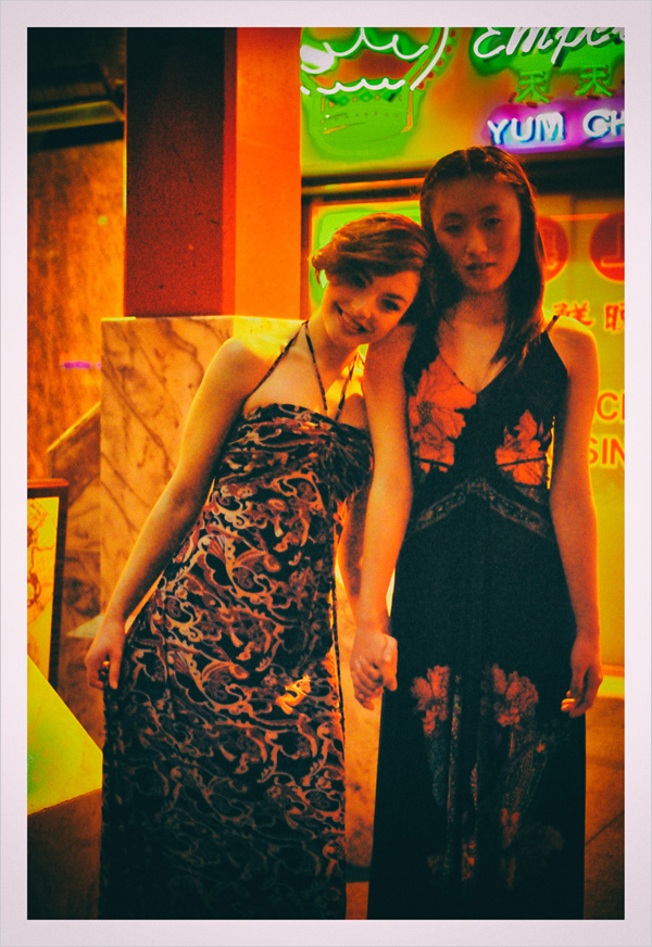 Two models late night, neon signs in Dixon Street Sydney - Chinatown 2007 New Edition, Photographed by Kent Johnson