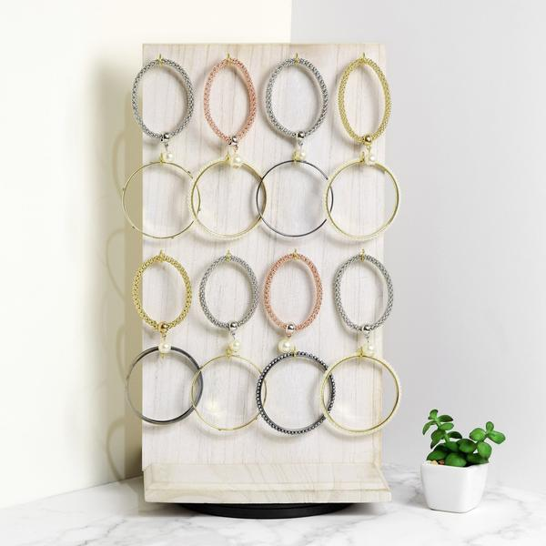 Wooden Rotating Two-Sided Jewelry Display Stand 32 Hooks in White from Nile Corp