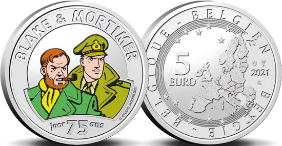 Belgium coloured 5 euro 2021 - 75 years of Blake & Mortimer