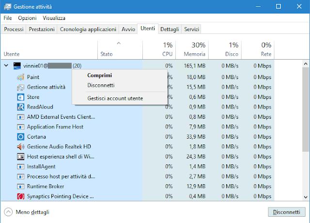 Task Manager Windows 10 - 8 scheda Utenti