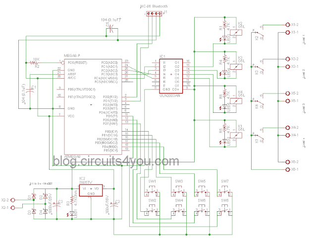 Bluetooth based home automation system circuit diagram