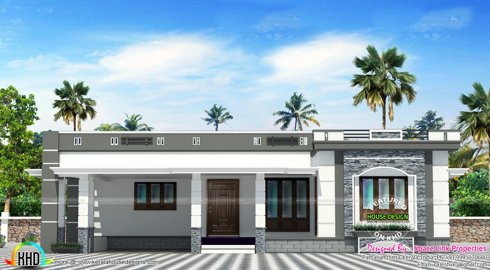 158 sq m flat roof single floor home kerala home design for Roof floor