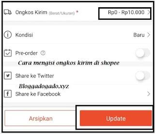 Cara Mengisi Ongkos Kirim di Shopee Untuk Penjual melalui Aplikasi shopee
