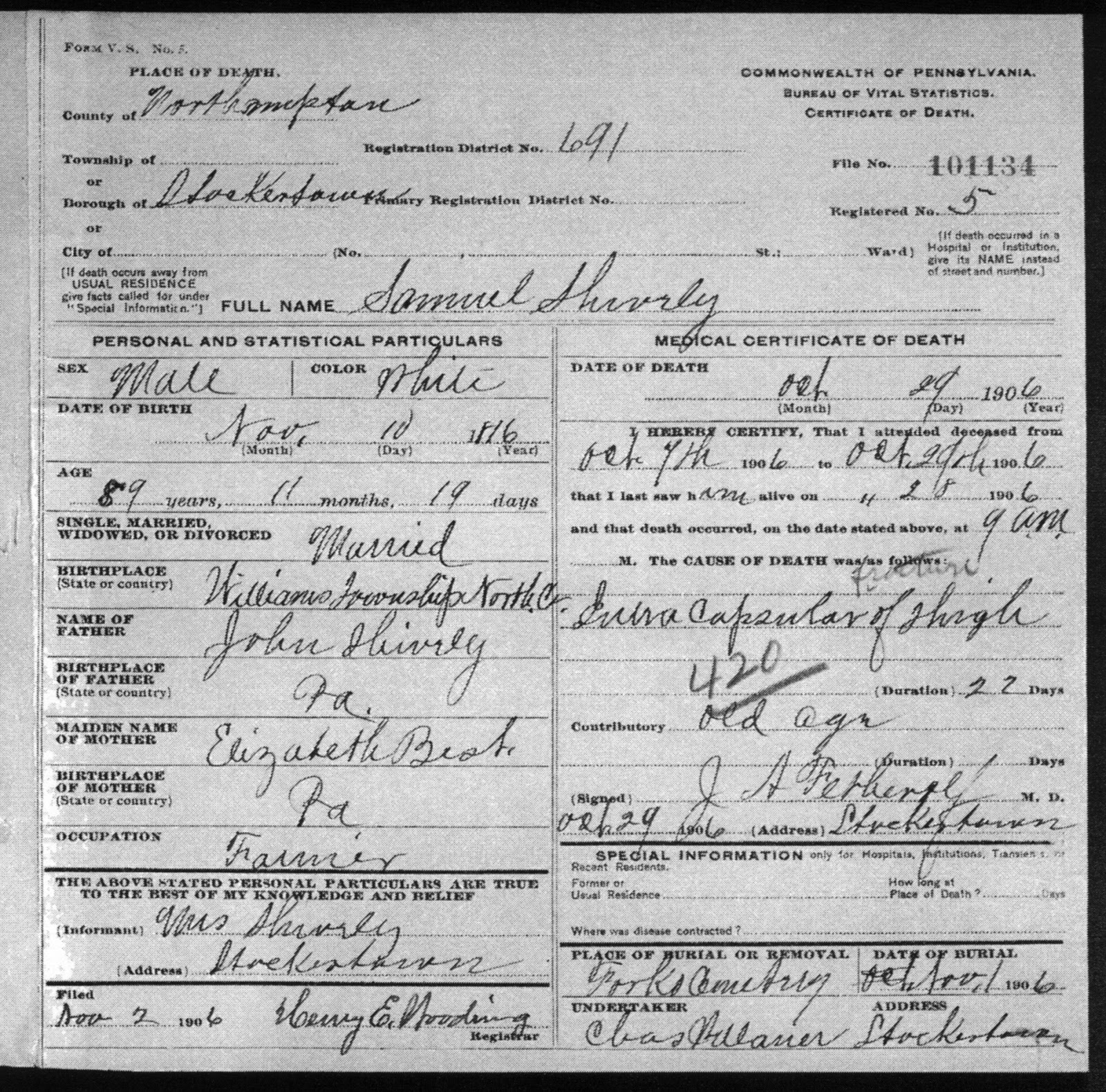 Shively family genealogy samuel shively and 1st wife caroline samuel shively pa death certificate xflitez Gallery