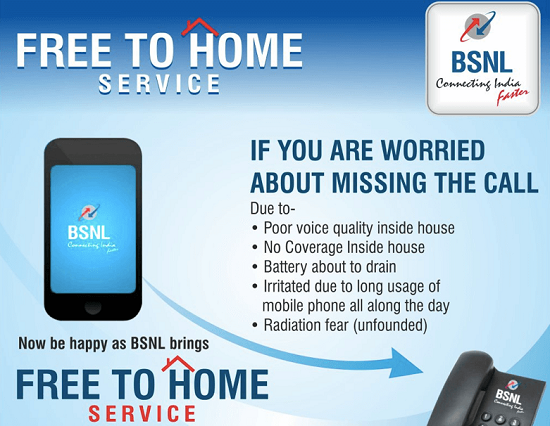 BSNL launches 'FREE TO HOME' service - Free Call forwarding facility from Mobile to BSNL landline even during roaming