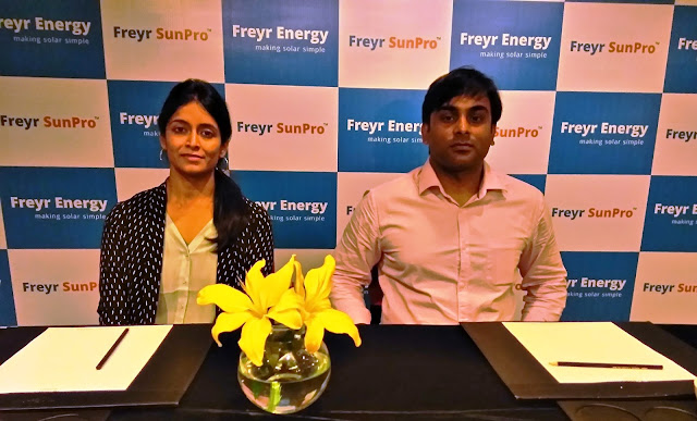 Ms. Radhika Choudary, Co-Founder & Director and Mr. Saurabh Marda, Co-Founder and Managing Director of Freyr Energy addressing the media