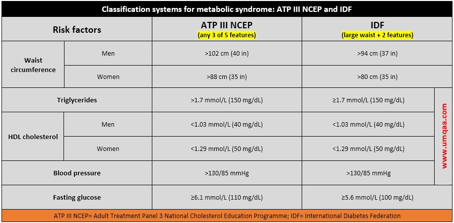 Classification systems for metabolic syndrome