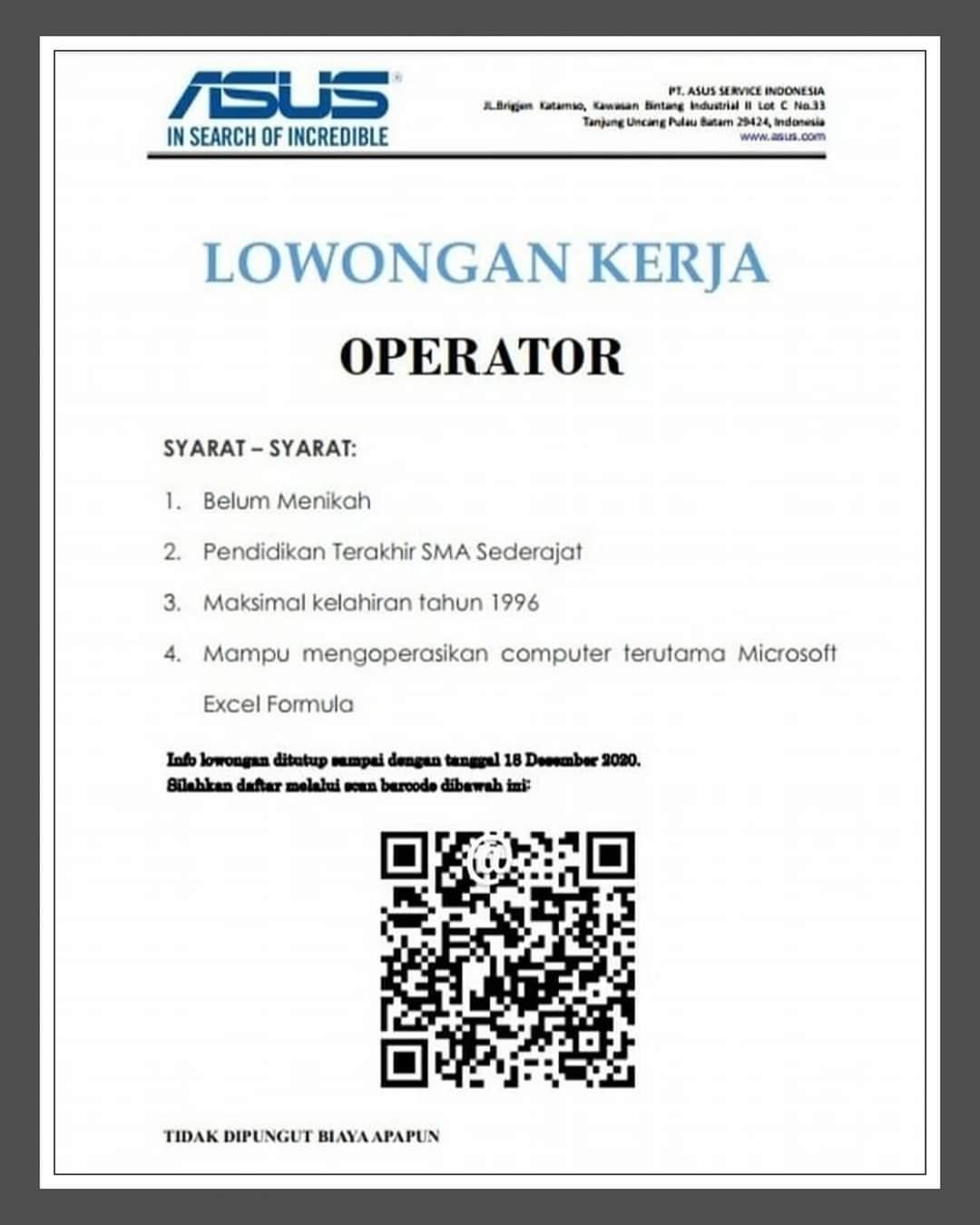 Lowongan Kerja Batam Pt Asus Service Indonesia 15 12 2020 Lowongan Kerja Batam Terbaru Hari Ini 2021