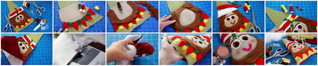 Step-by-step making a Christmas dog toy shaped like an elf with stuffing and squeakers