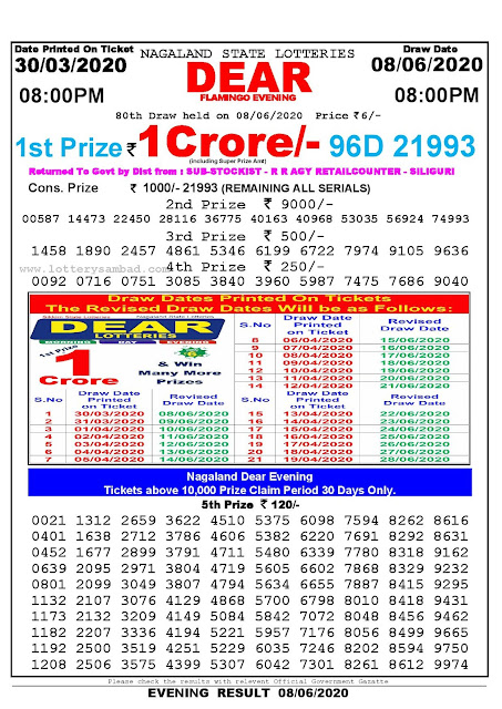 Lottery Sambad Result 30.03.2020 Dear Flamingo Evening 8 pm