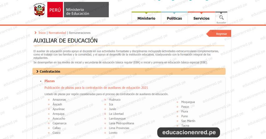 MINEDU publicó Plazas para la Contratación de Auxiliares de Educación 2021 [ACTUALIZADO]