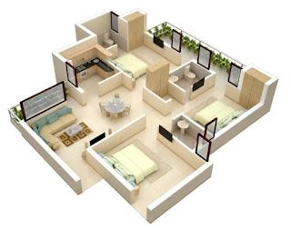 ilustrasi denah rumah untuk pemasangan kabel