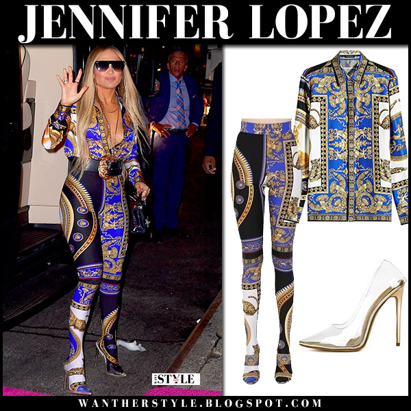 Jennifer Lopez in blue printed plunging shirt and matching printed footed leggings versace vma fashion 2018