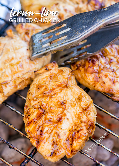 Lemon-Lime Grilled Chicken - we are obsessed with this chicken! SO good!!! Chicken marinated in brown sugar, cider vinegar, dijon mustard, lime juice, lemon juice, garlic, salt, pepper and olive oil. Can marinated overnight. We make this at least once a month! Packed full of AMAZING flavor!!! Great grilled chicken recipe!