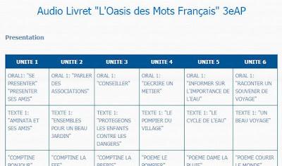 """Audio Livret """"L'Oasis des Mots Français"""" 3 AEP"""