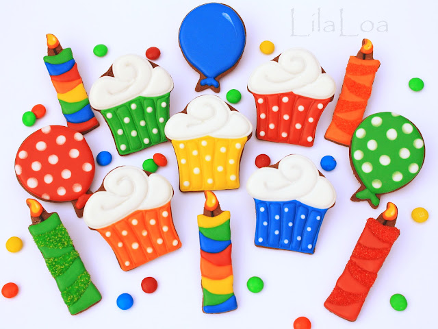 Decorated birthday themed sugar cookies - cupcake, balloon, and candle