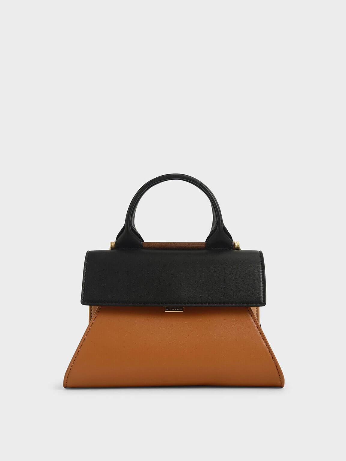 two-tone sculptural bag