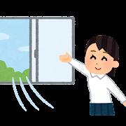 教室の換気をする学生のイラスト(女子)